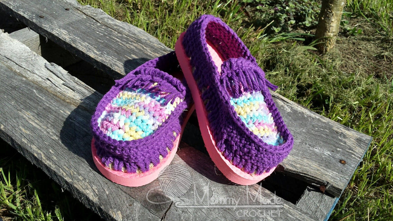 Mommy Made Crochet Cotton Moccasin Shoes With Flip Flop Soles