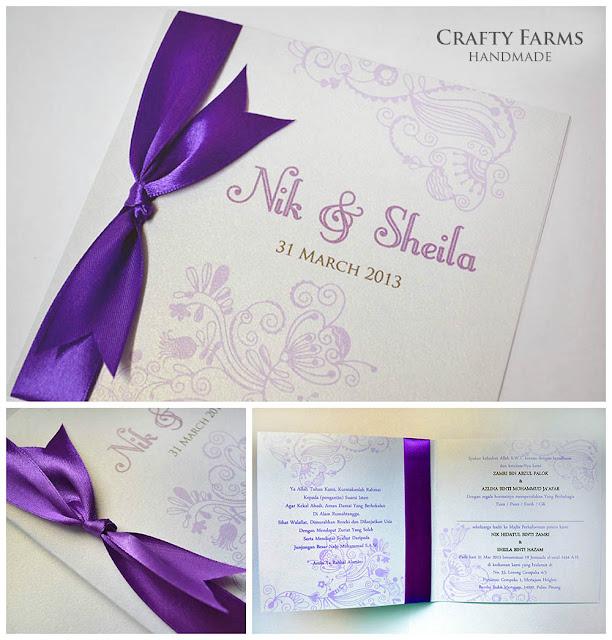 Kad Kahwin Melayu Walimatul Urus Batik Malay Handmade Wedding Card with Ribbon