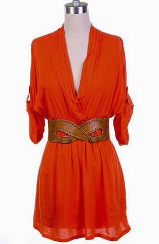Sierra | Belted Roll Sleeve Tunic Orange Colour Dress