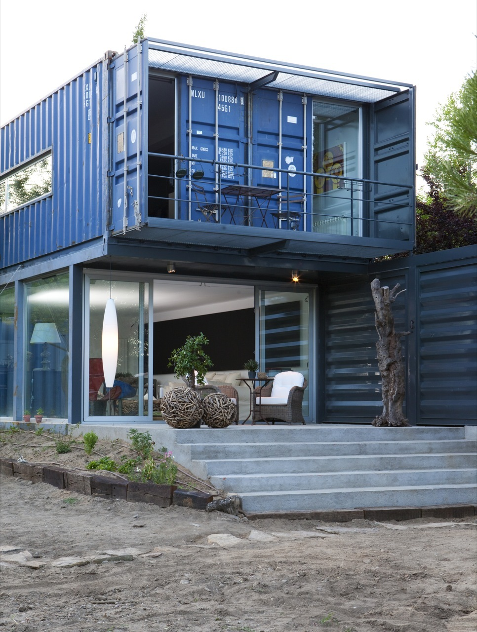 shipping container homes two story container house in el tiemblo spain. Black Bedroom Furniture Sets. Home Design Ideas