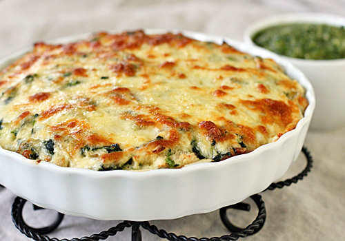 The Galley Gourmet: Chicken and Spinach Tortilla Pie with a Roasted ...