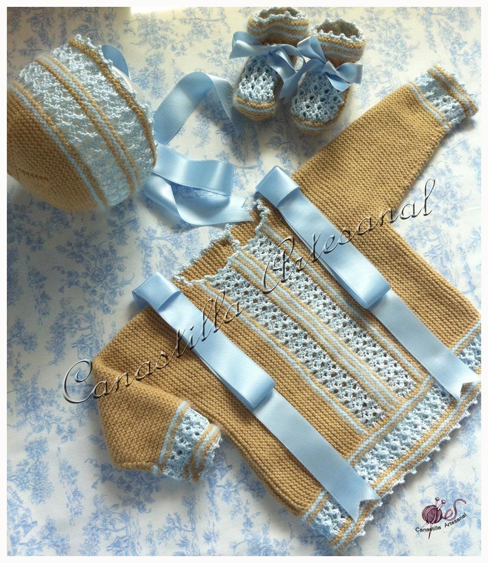 Canastilla artesanal modelo 7 en camel con celeste - Canastilla artesanal bebe ...