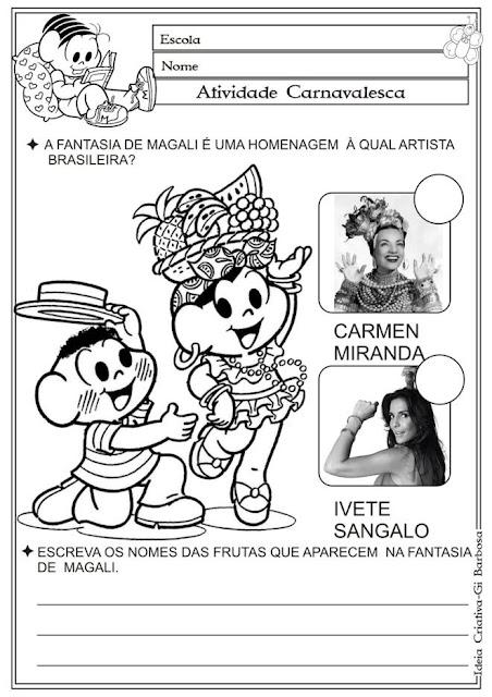 Atividade Carnaval / Carmen Miranda / Auto Ditado Turma da Mônica