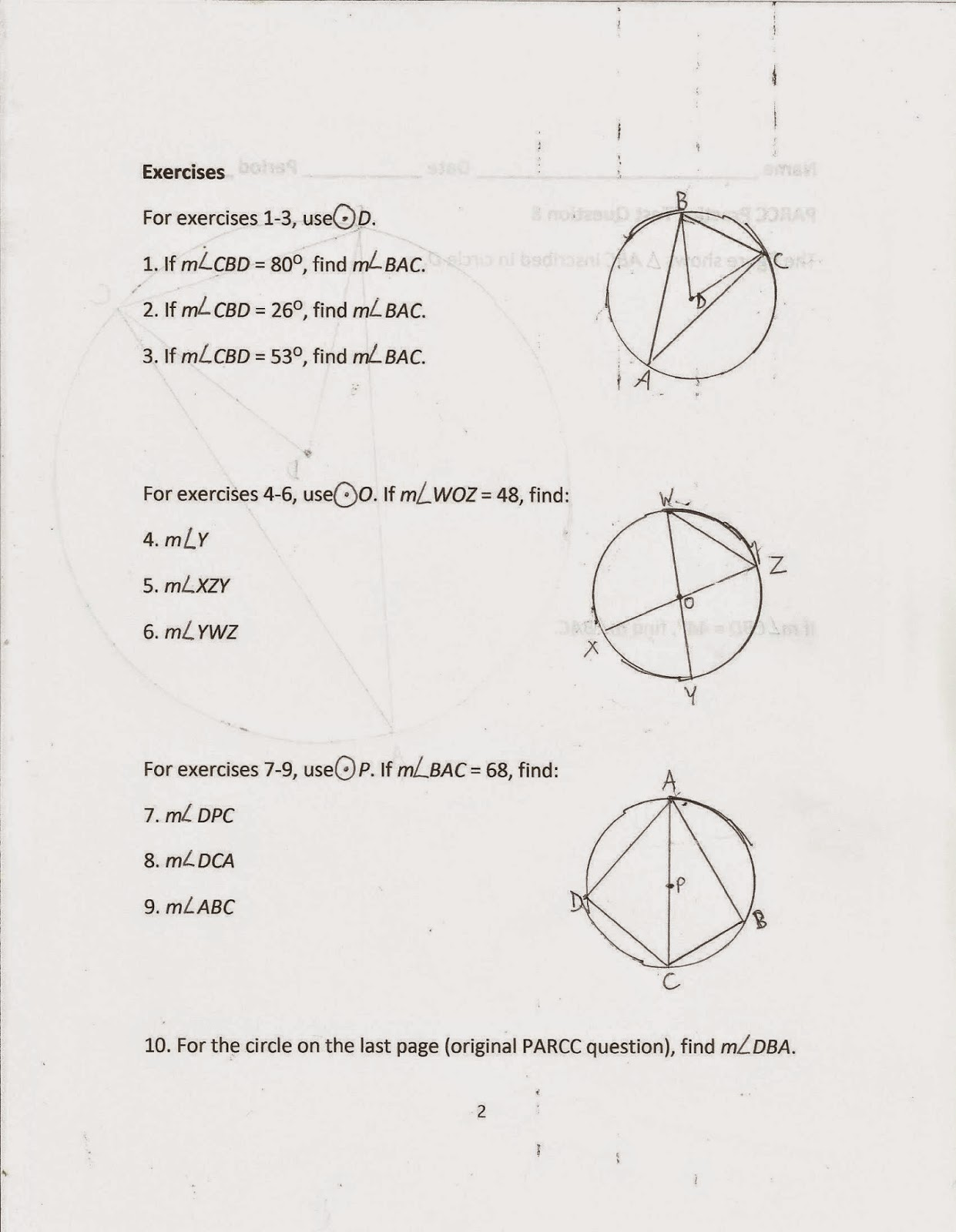 Inscribed Angles Worksheet Answers Glencoe inscribed angles – Glencoe Geometry Worksheet Answers