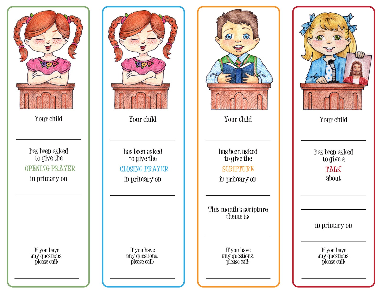 Susan fitch design primary assignment cards