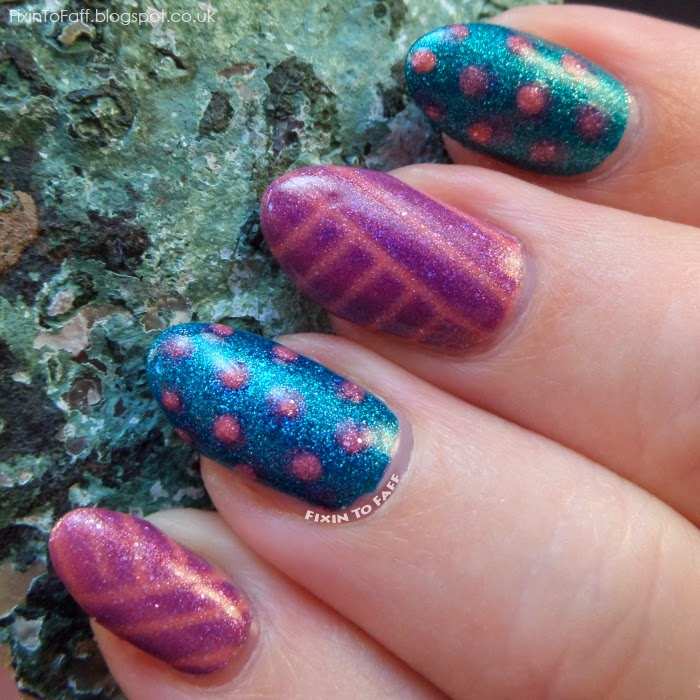 Spots and Stripes nail art