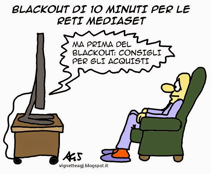 Mediaset, blackout, satira , vignetta