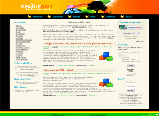 Phpnuke Vector Arts Web2.0 Theme