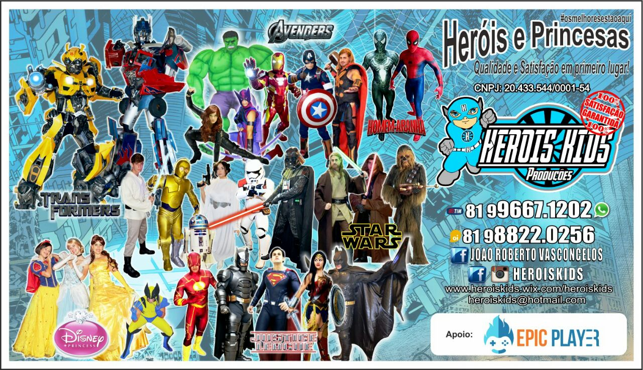 Contrate para sua festa Heróis e Princesas