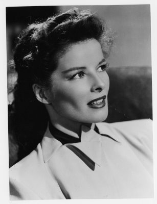 Black and white portrait of Katharine Hepburn