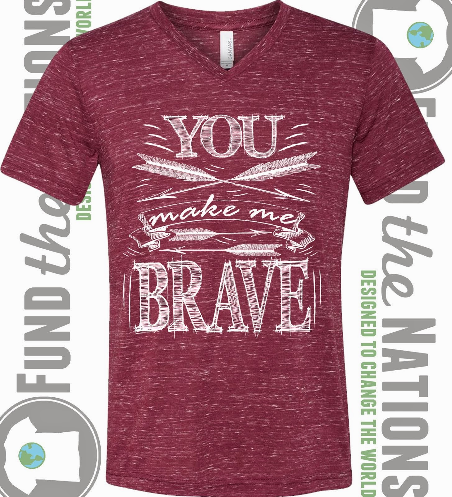 You Make Me Brave Maroon V-Neck