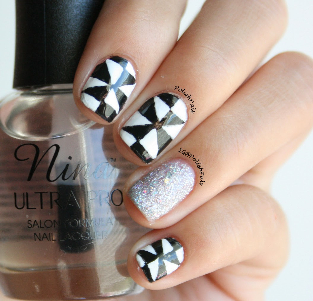 Black & White Triangle Nails by Polish Pals