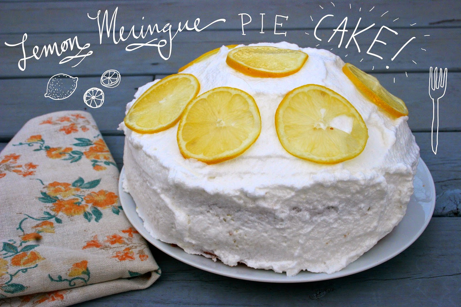 Lemon Meringue Pie Cake with Text