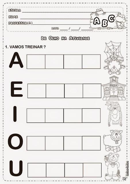 Atividades de alfabetização 1 ano vogais