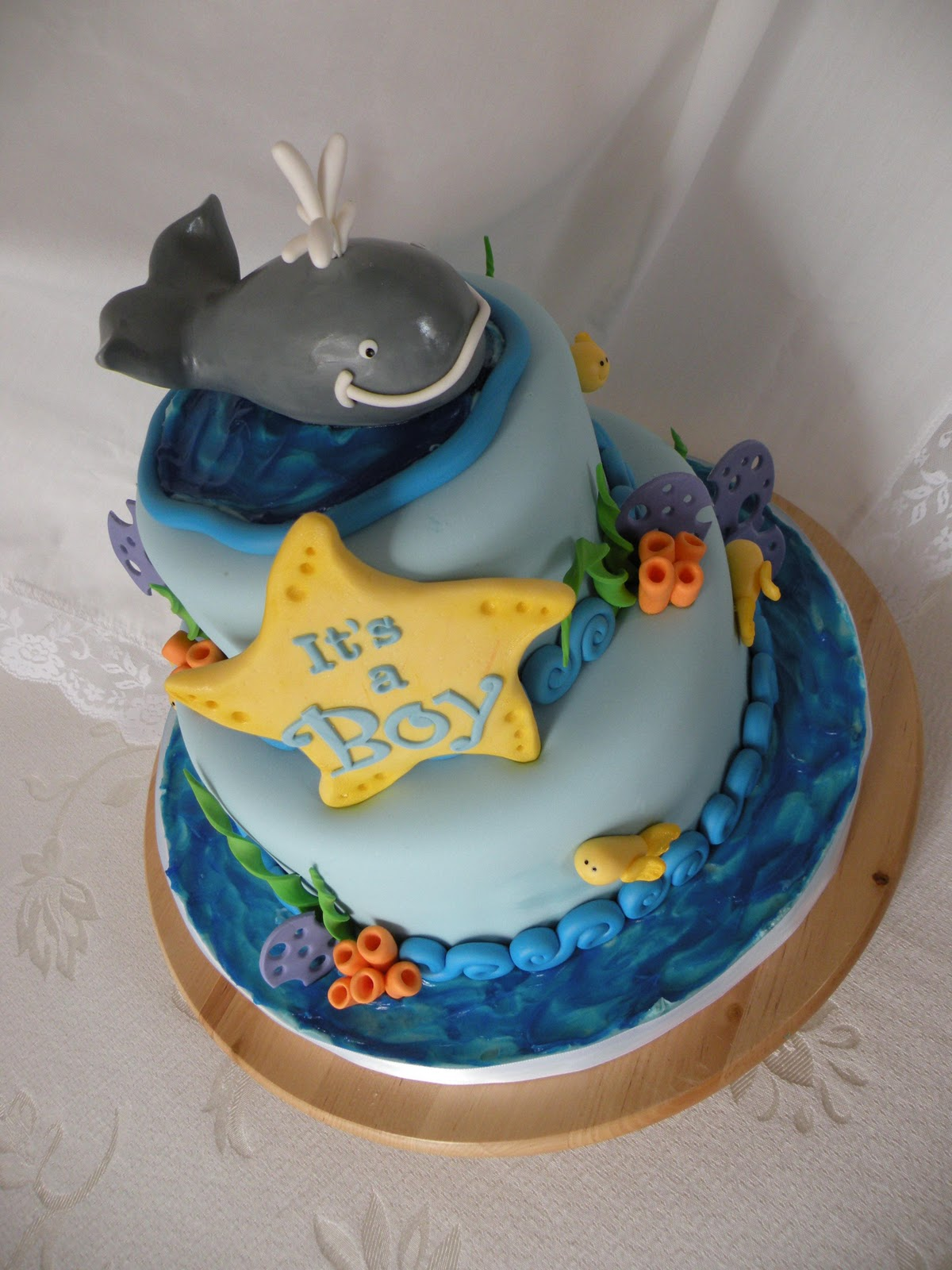 whale themed baby shower cake for baby jonah march 6 2011