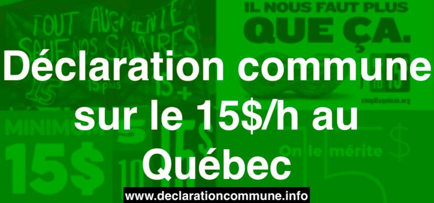 Déclaration commune sur le 15$/h au Québec
