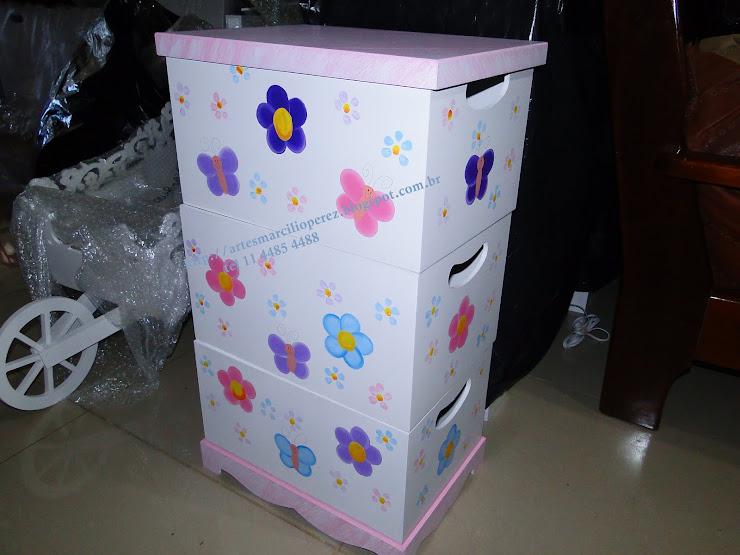 trio de caixas flores e borboletas R$ 130,00