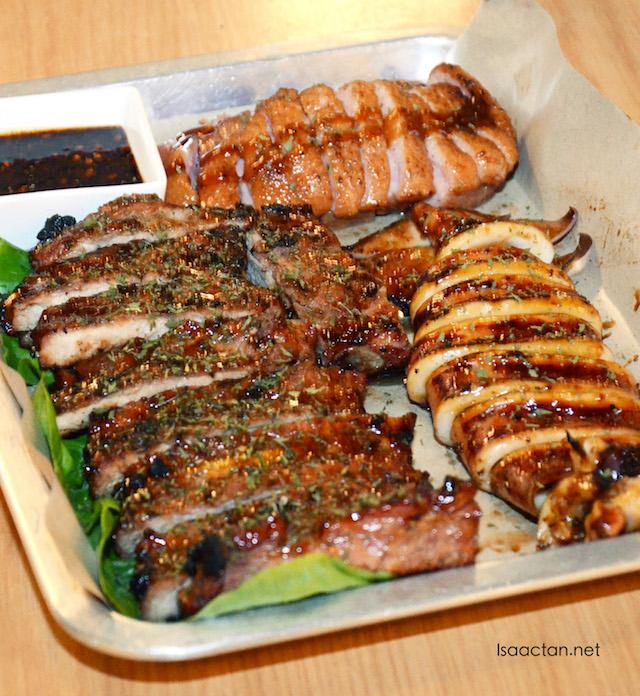 BBQ Squid (RM20.00), BBQ Pork Ribs (RM35.00) and BBQ Smoked Duck (RM20.00)