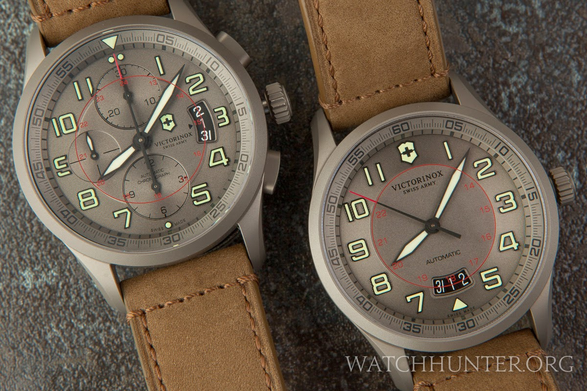 Closeup of 2013 Victorinox Swiss Army Airboss Limited Edition titanium watches 241599 241600