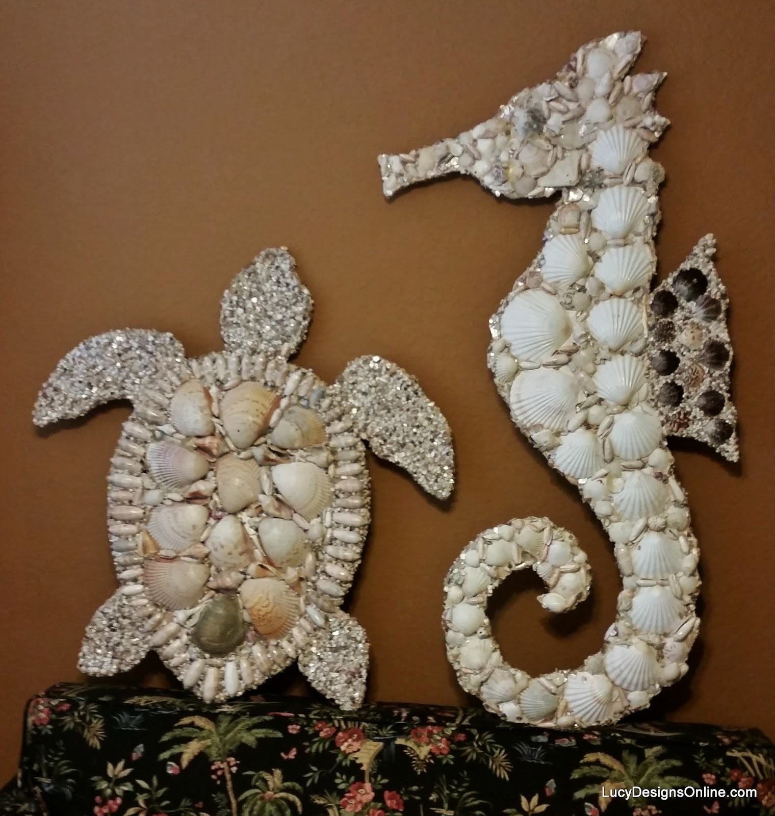 seashell seahorse and sea shell sea turtle mosaic