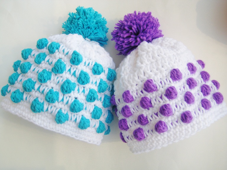 Crocheting Newborn Baby Hat : Crochet Dreamz: Polka Dot Beanie Crochet Hat Pattern, Newborn to Woman