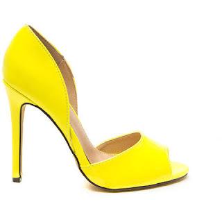 look amarelo peep toe