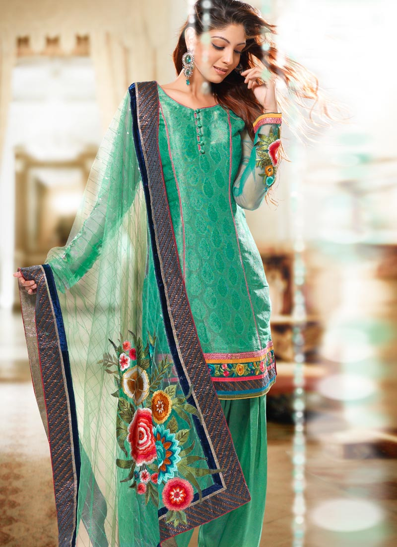 Green Color Wedding Salwar Kameez - Indian Embroidery Suit - Ladies ...