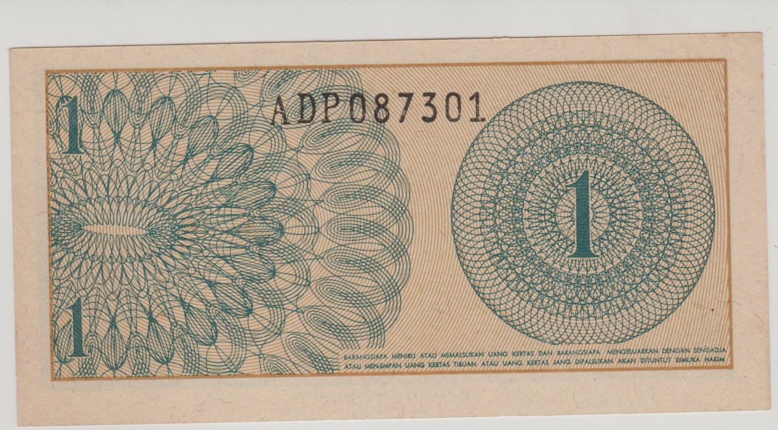 uang kuno Seri Sukarelawan tahun 1968 pecahan 1 sen