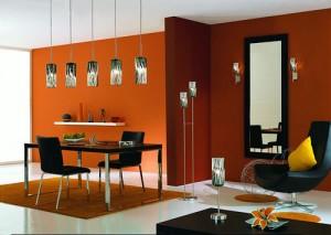 Marr n y naranja en salas ideas para decorar dise ar y - Pared naranja combina con ...