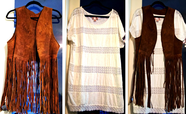 HM garden white cotton shirt, suede fringe vest, 70's suede vest, Talize find, Thrift fashion