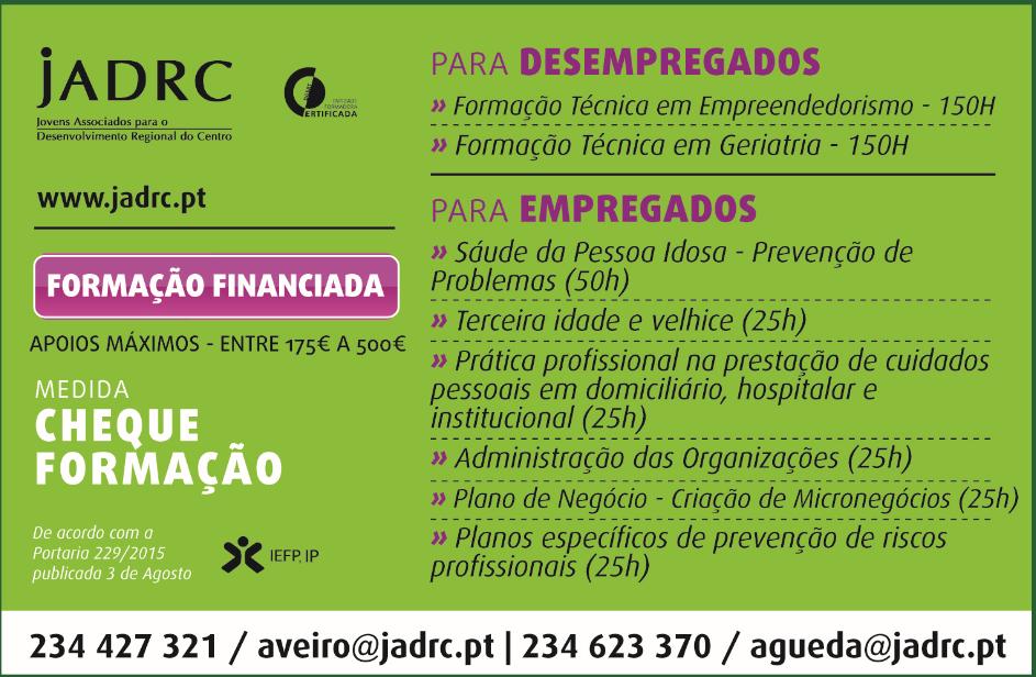 formação remunerada em Aveiro e Agueda