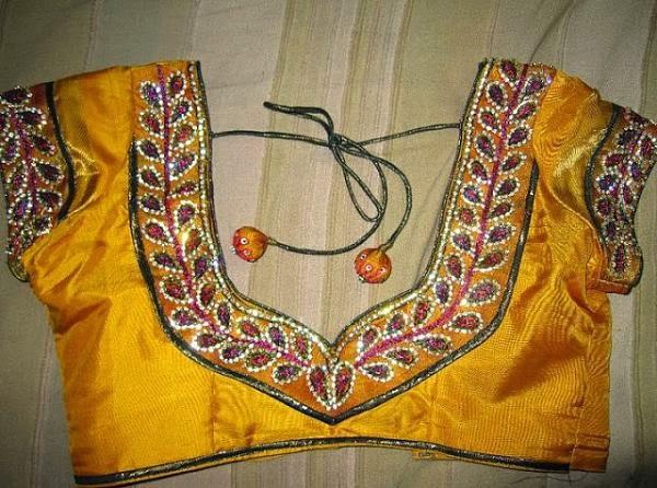 Sparkling fashion blouse back neck designs sstone work on