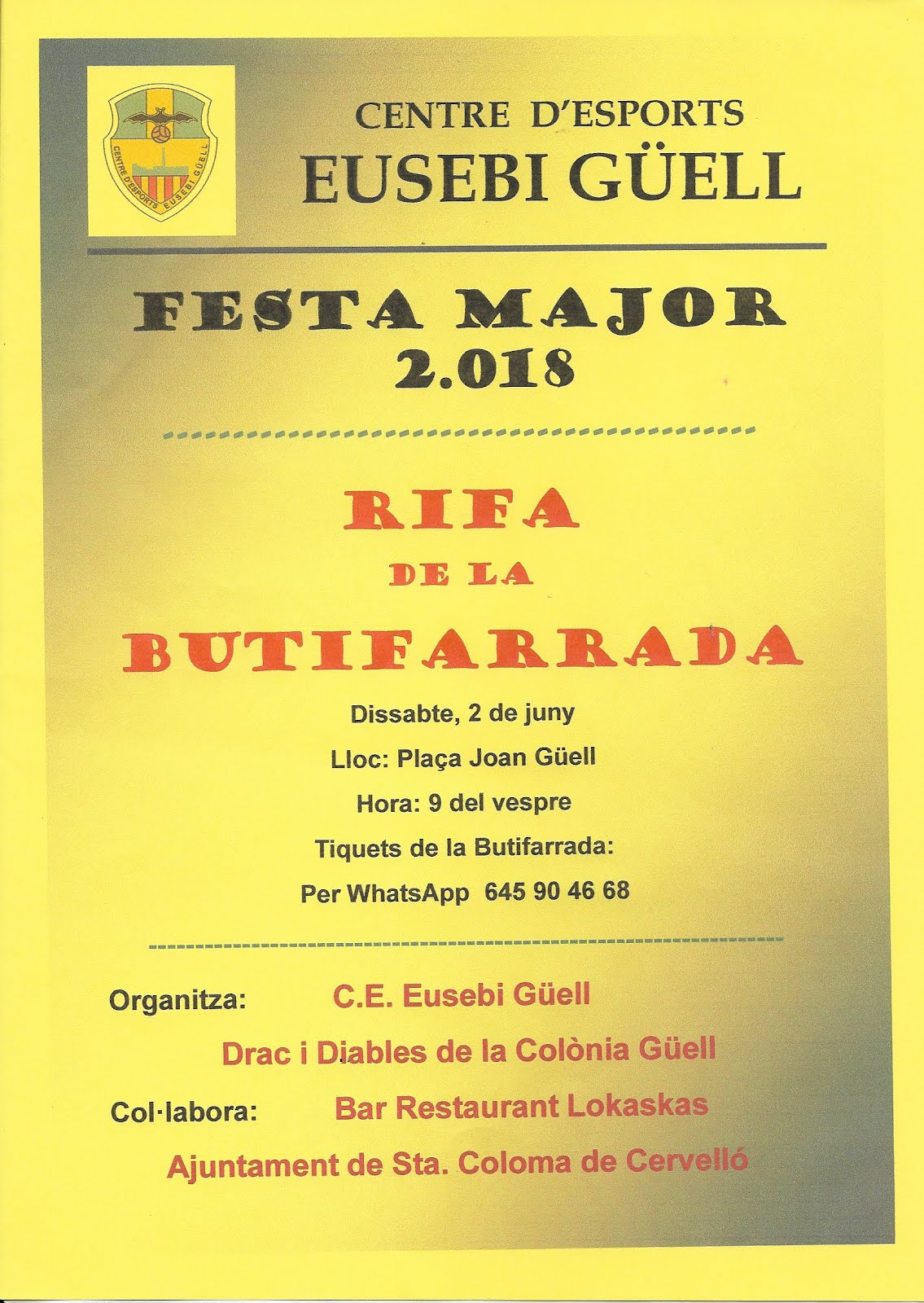 FESTA MAJOR 2018 - RIFA BUTIFARRADA