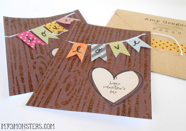 Wood Grain Valentines at my3monsters.com