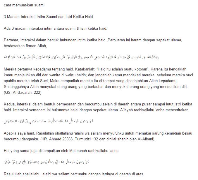 info 3 cara halal memuaskan isteri ketika haid yang