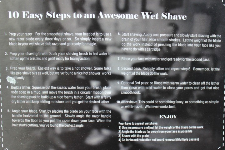 Wet Shave Club Starter Box 10 easy steps to an awesome shave info card