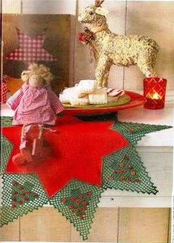 Patron de Carpeta Estrella de navidad - en tela y crochet