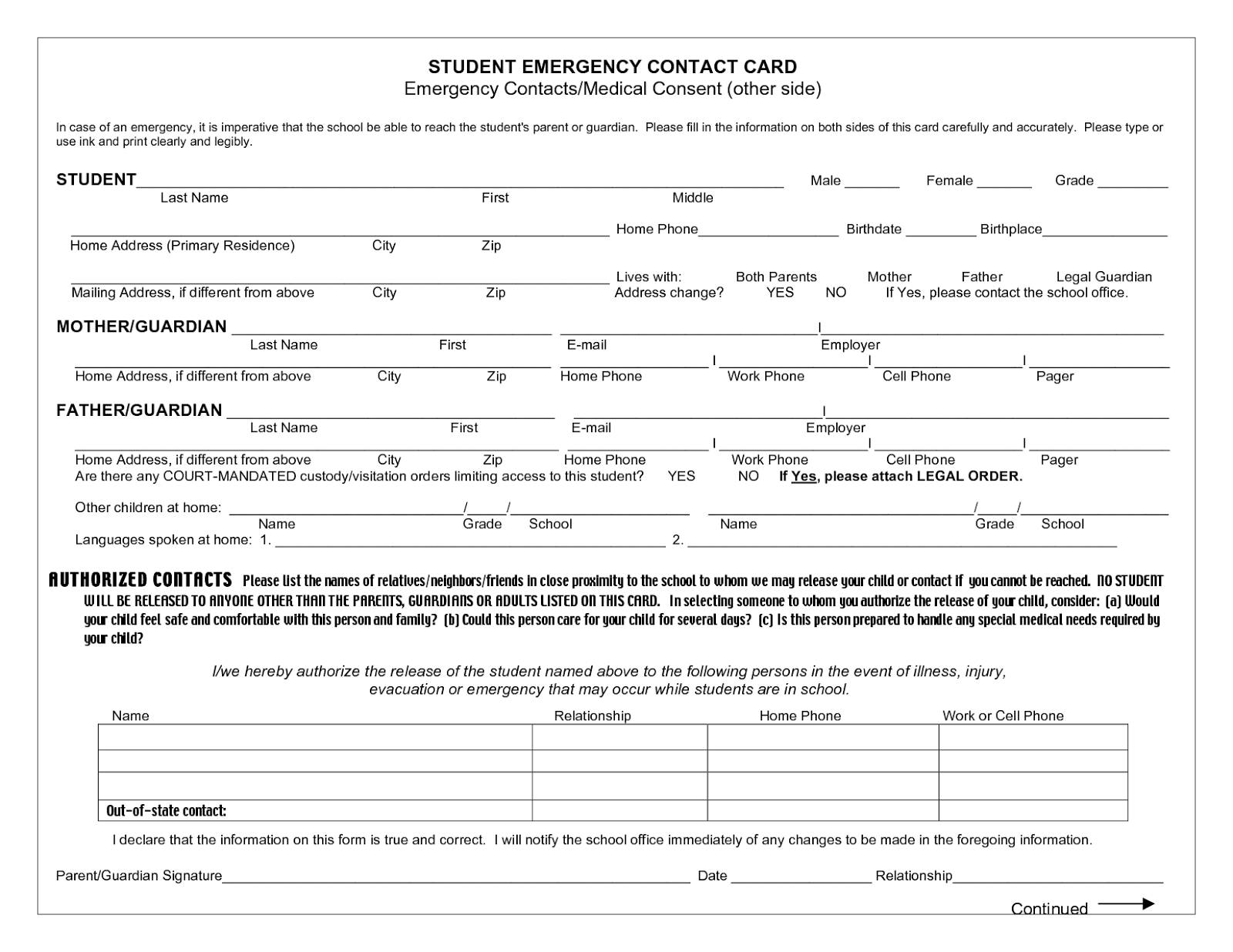 Employee Emergency Contact Template Pictures to Pin – Emergency Contact Forms