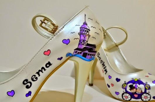 Kız Kulesi Resimli Gelin Ayakkabıları