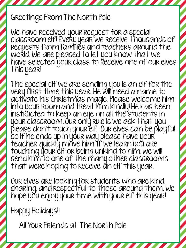 falling into first the elf has landed With elf on the shelf class letter