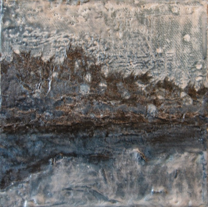 mixed media encaustic, moonlight  on hills, water