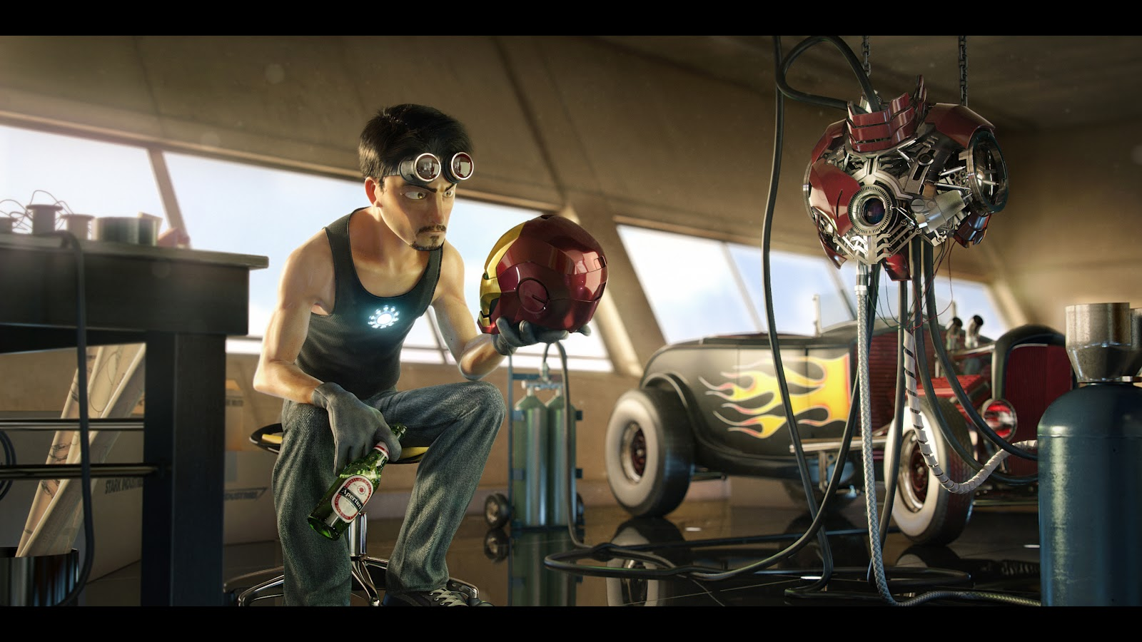 Fashion and action iron man pixar style cg fan art by