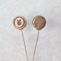 handmade headpins in solid bronze. Letters, monogram