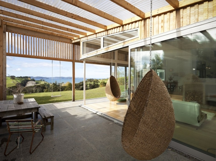 Terrace swing on Wooden house in New Zealand