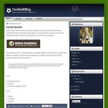 FootballBlog blogger template. template blogger for football blog