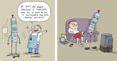 Imagen de la vida entre los robots y los humanos