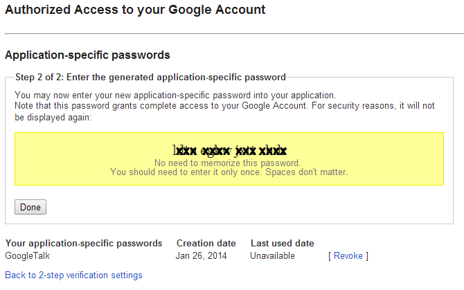 Google Account Application-specific passwords