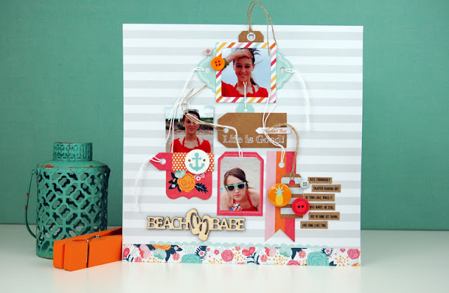 Beach Babe #scrapbooking layout by Jen Gallacher for SCT Magazine using Fancy Pants Designs products. Video can be viewed here: https://www.youtube.com/watch?v=jZernLeG1vo