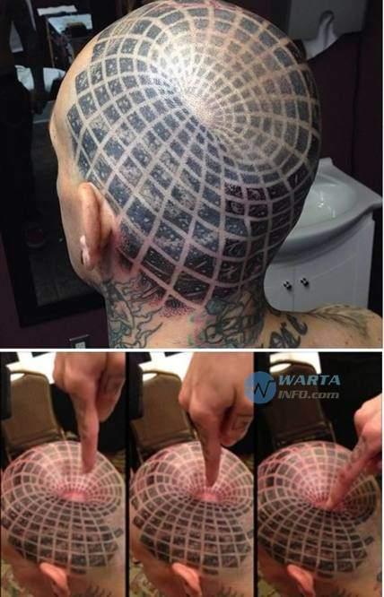 foto gambar tato kepala yang unik dan keren