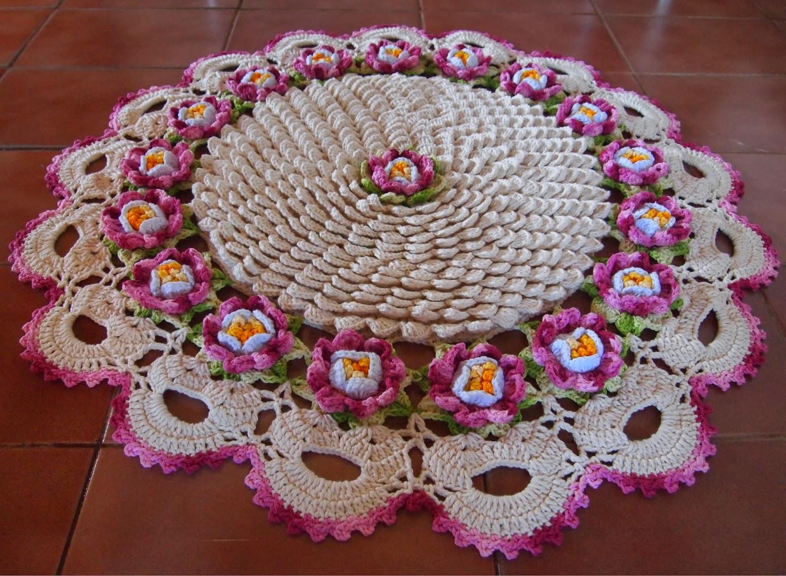 os croches da elsa tapete redondo flor de maracuj